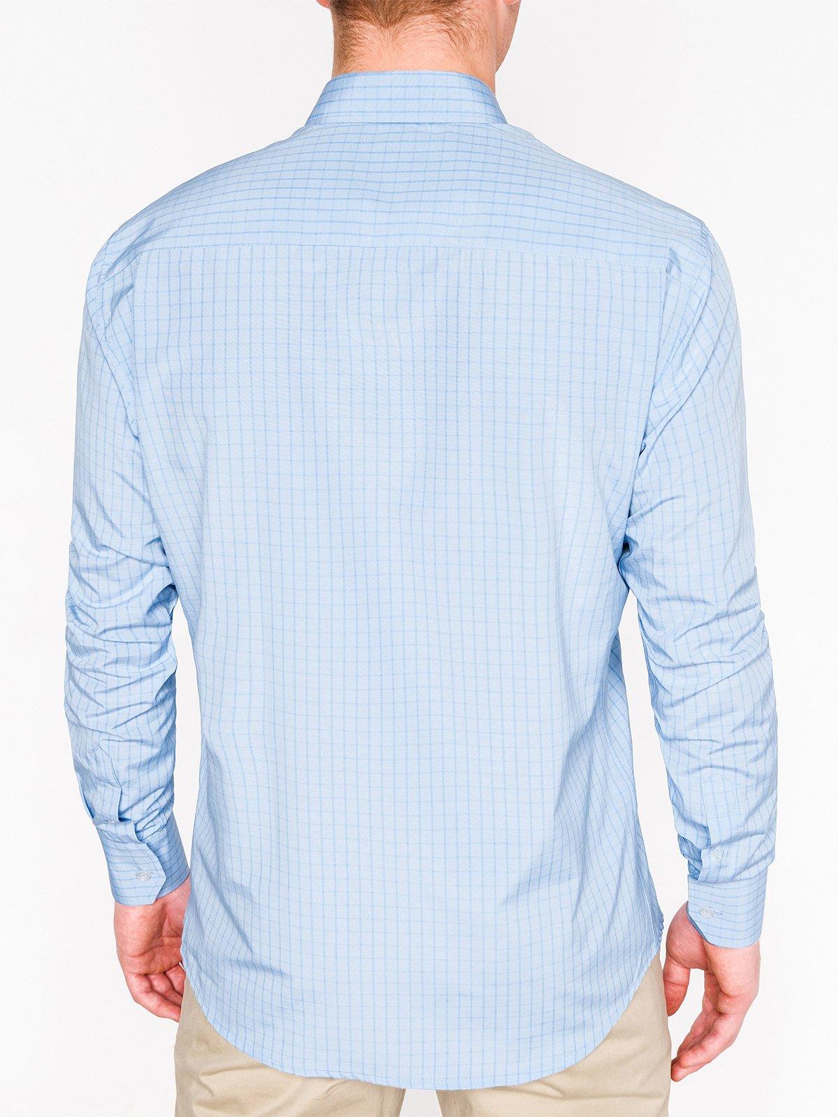 06448621c38 Мужская рубашка в клеточку с длинным рукавом K446 - голубая голубой ...