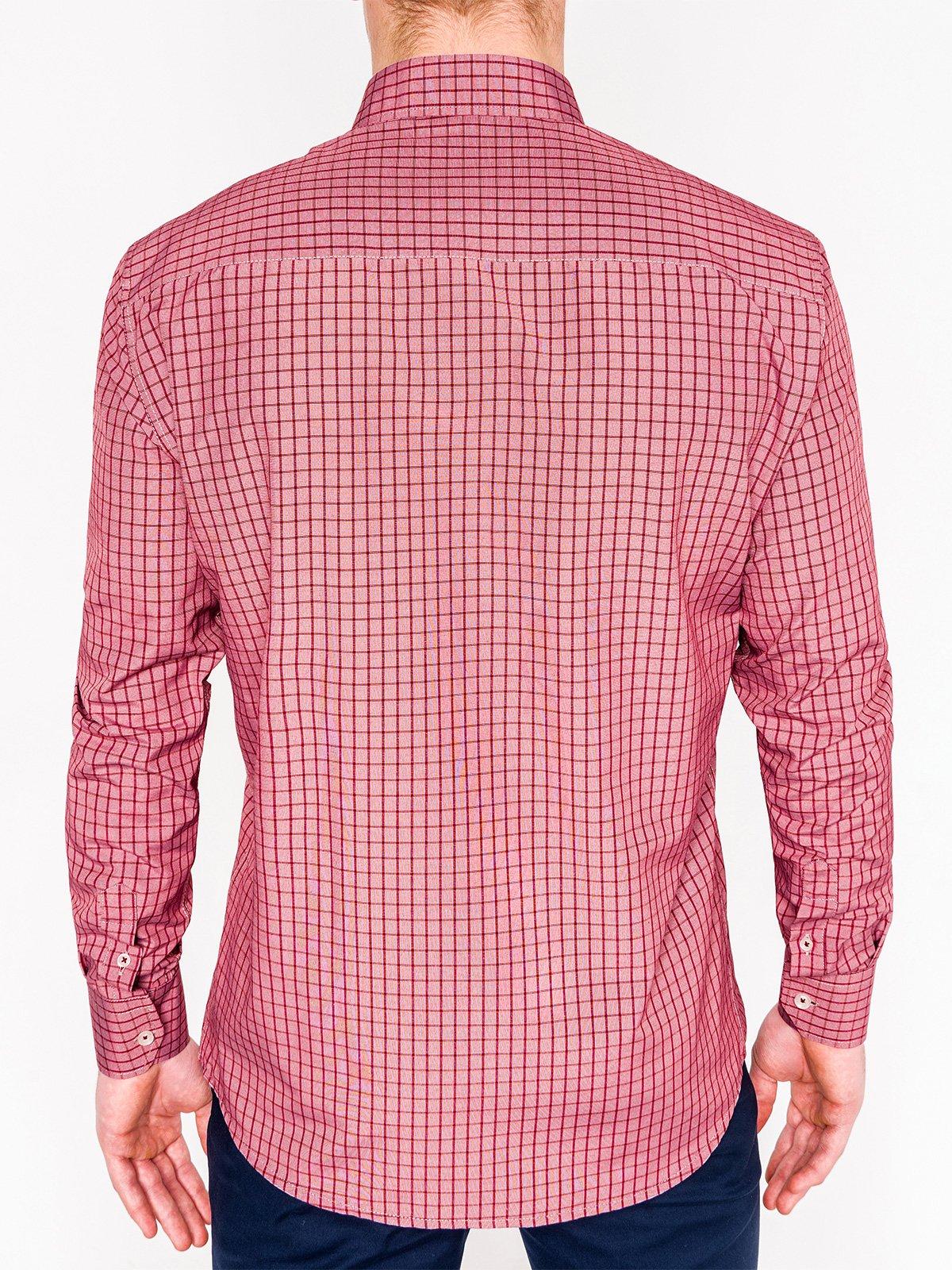 0a10105c880 Мужская рубашка в клеточку с длинным рукавом K446 - красная красный ...