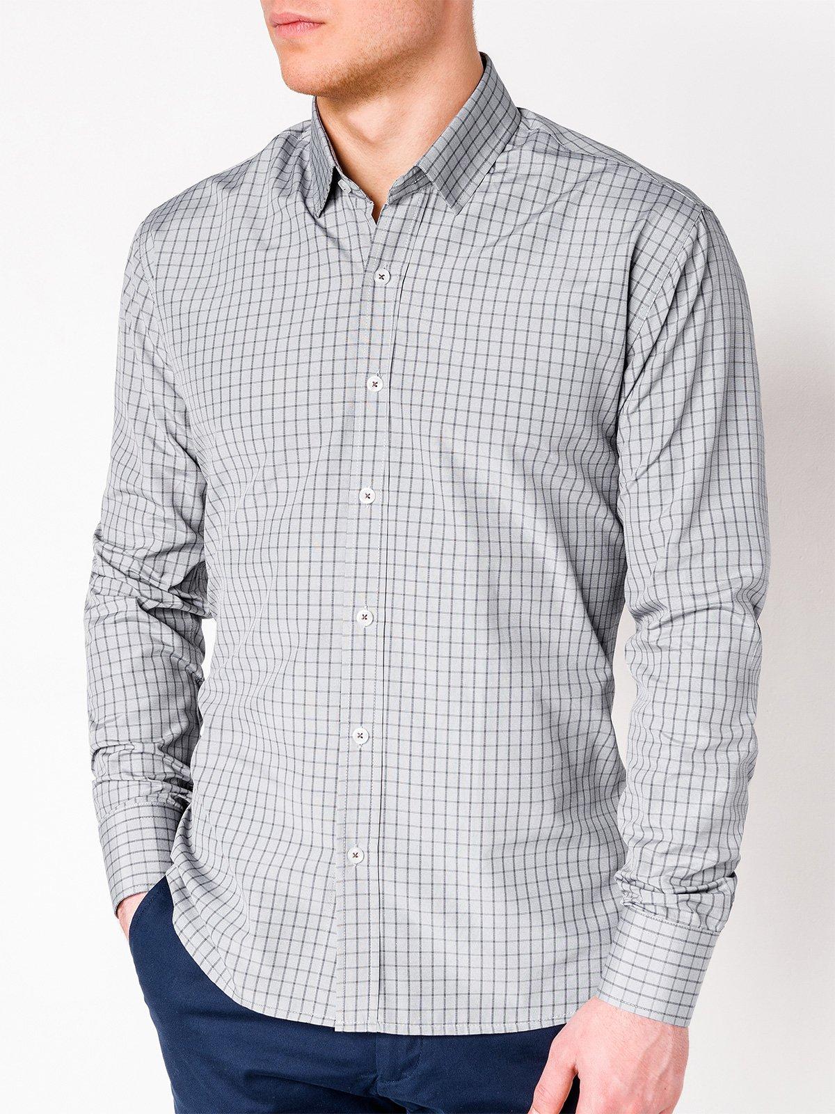 bf13d69d5f7 Мужская рубашка в клеточку с длинным рукавом K446 - серая серый ...