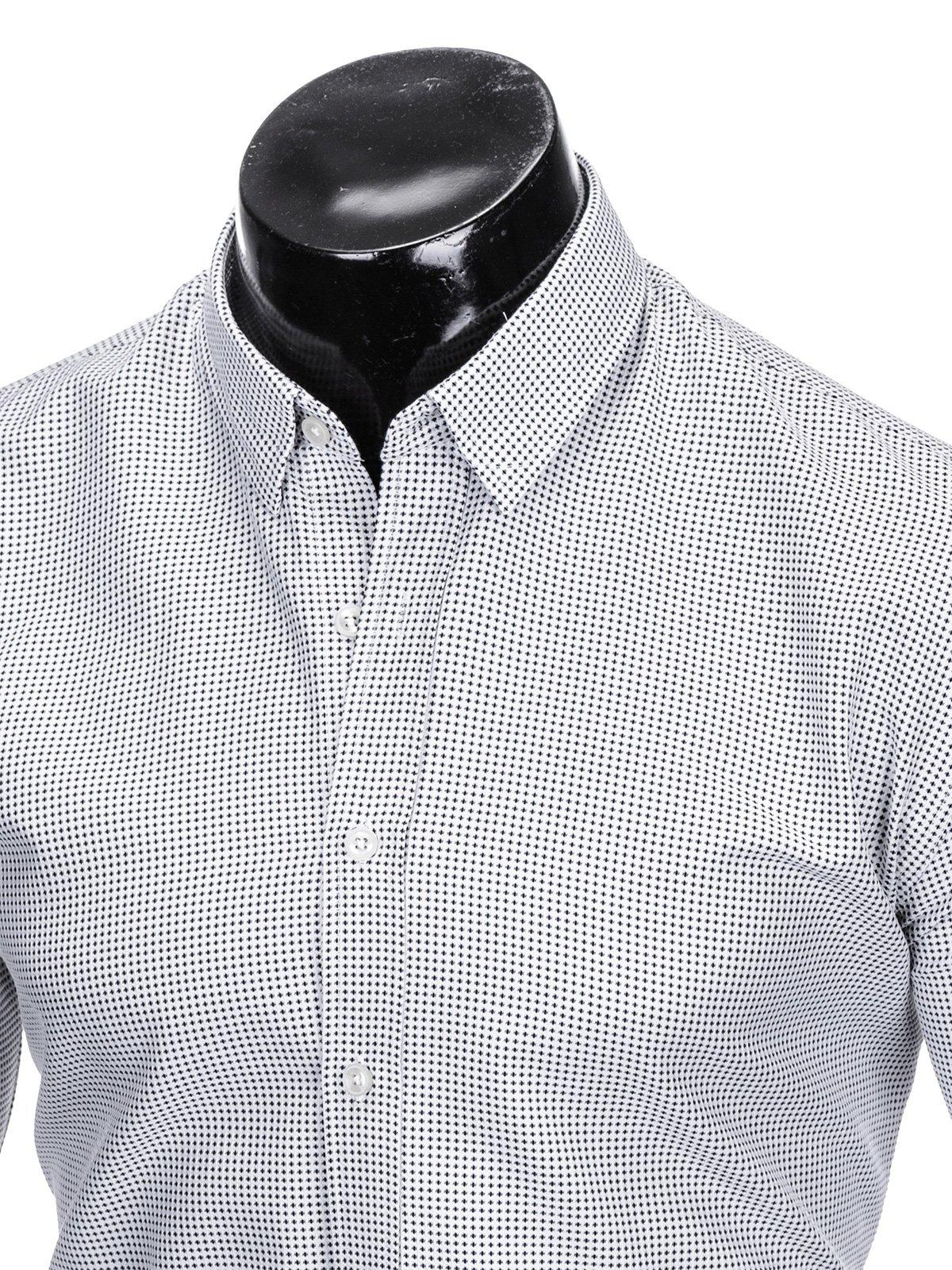 d21dda7e6cd Мужская рубашка элегантная с длинным рукавом K411 - белая черная ...