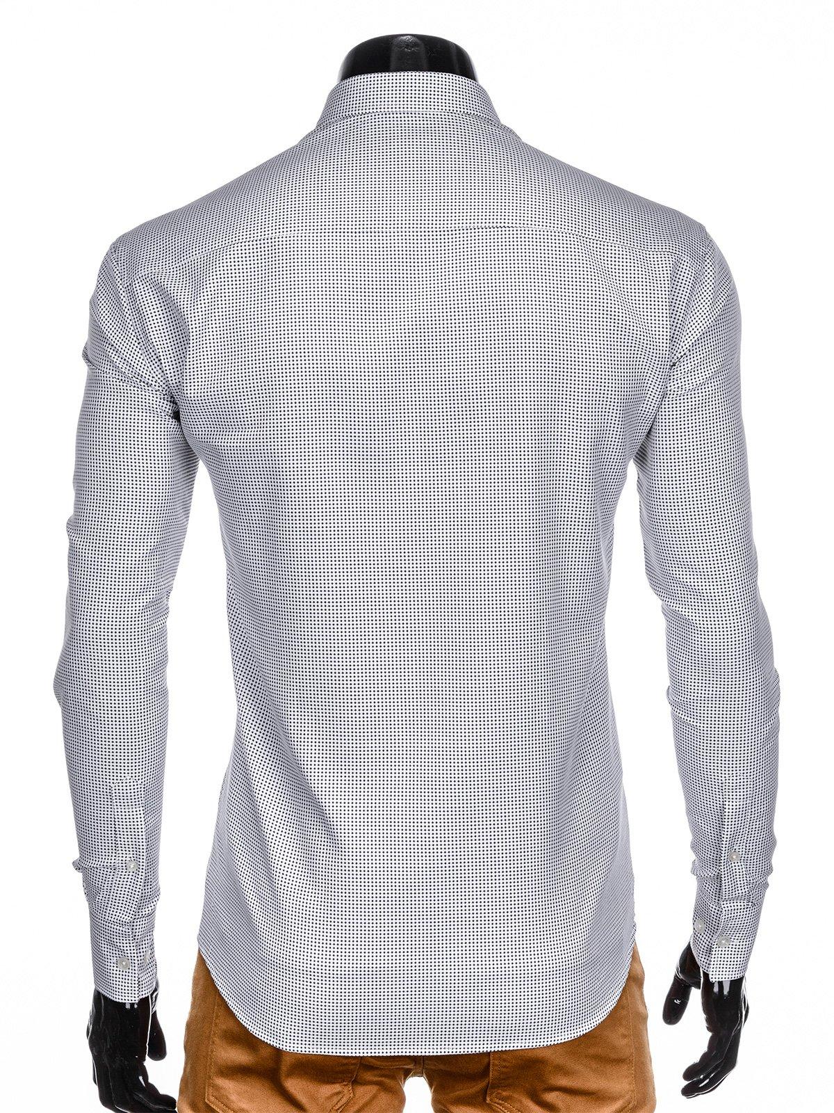 487c30a339d ... Мужская рубашка элегантная с длинным рукавом K411 - белая черная ...
