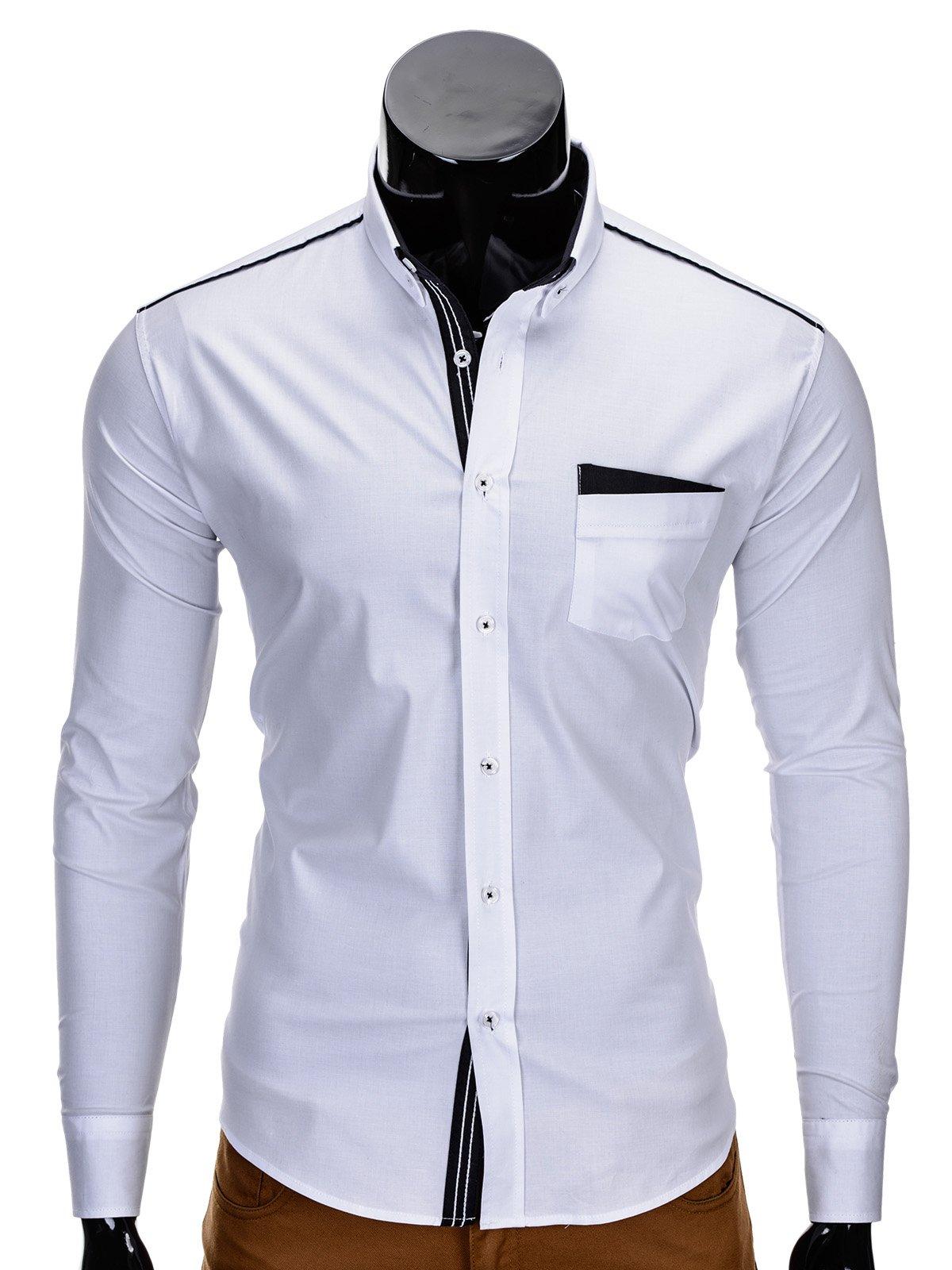 9d3dd1a2c61 Мужская рубашка элегантная с длинным рукавом K207 - белая белый ...