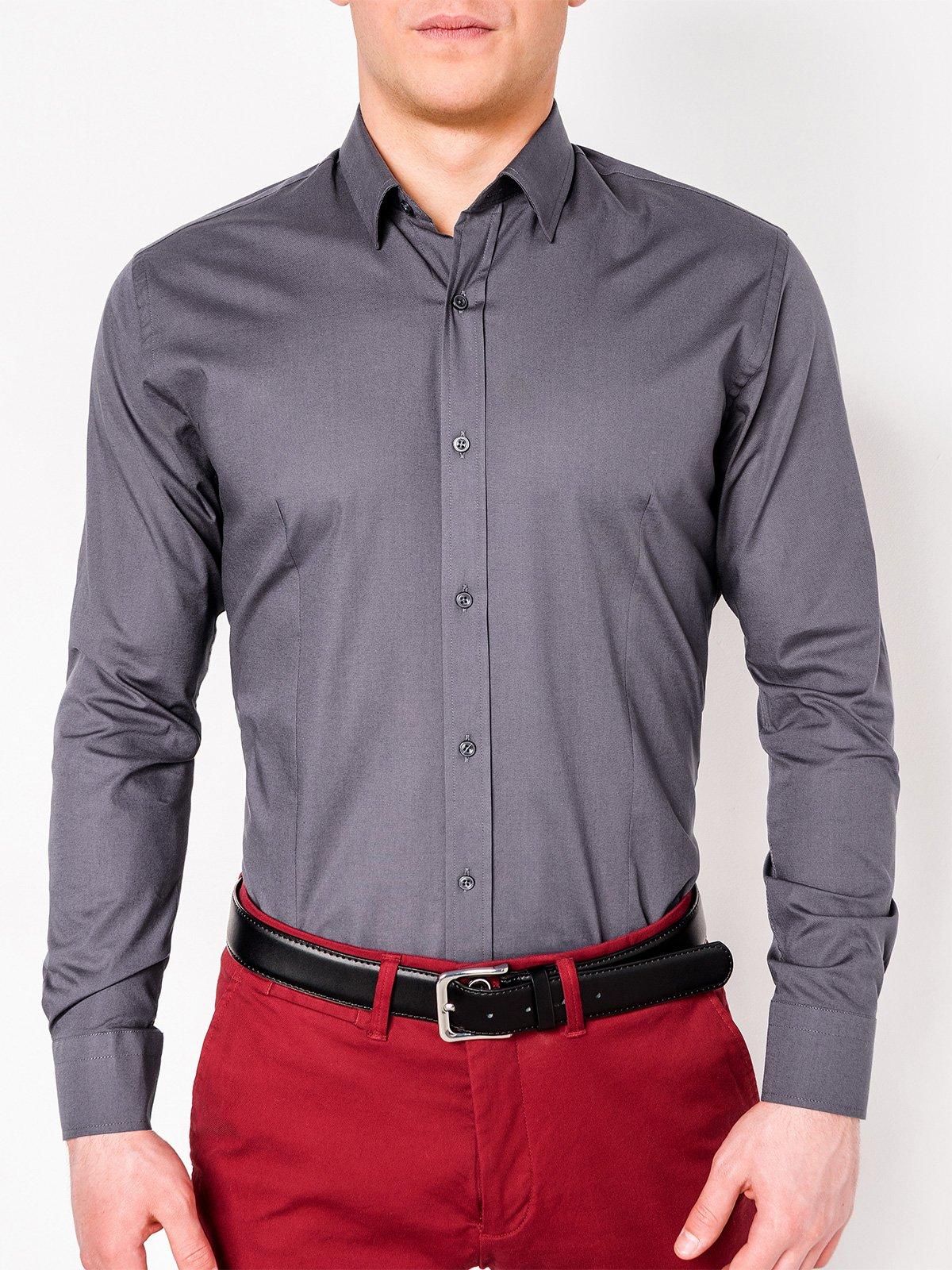 2b788bc4f62 ... Мужская рубашка элегантная с длинным рукавом K219 - темно-серая ...