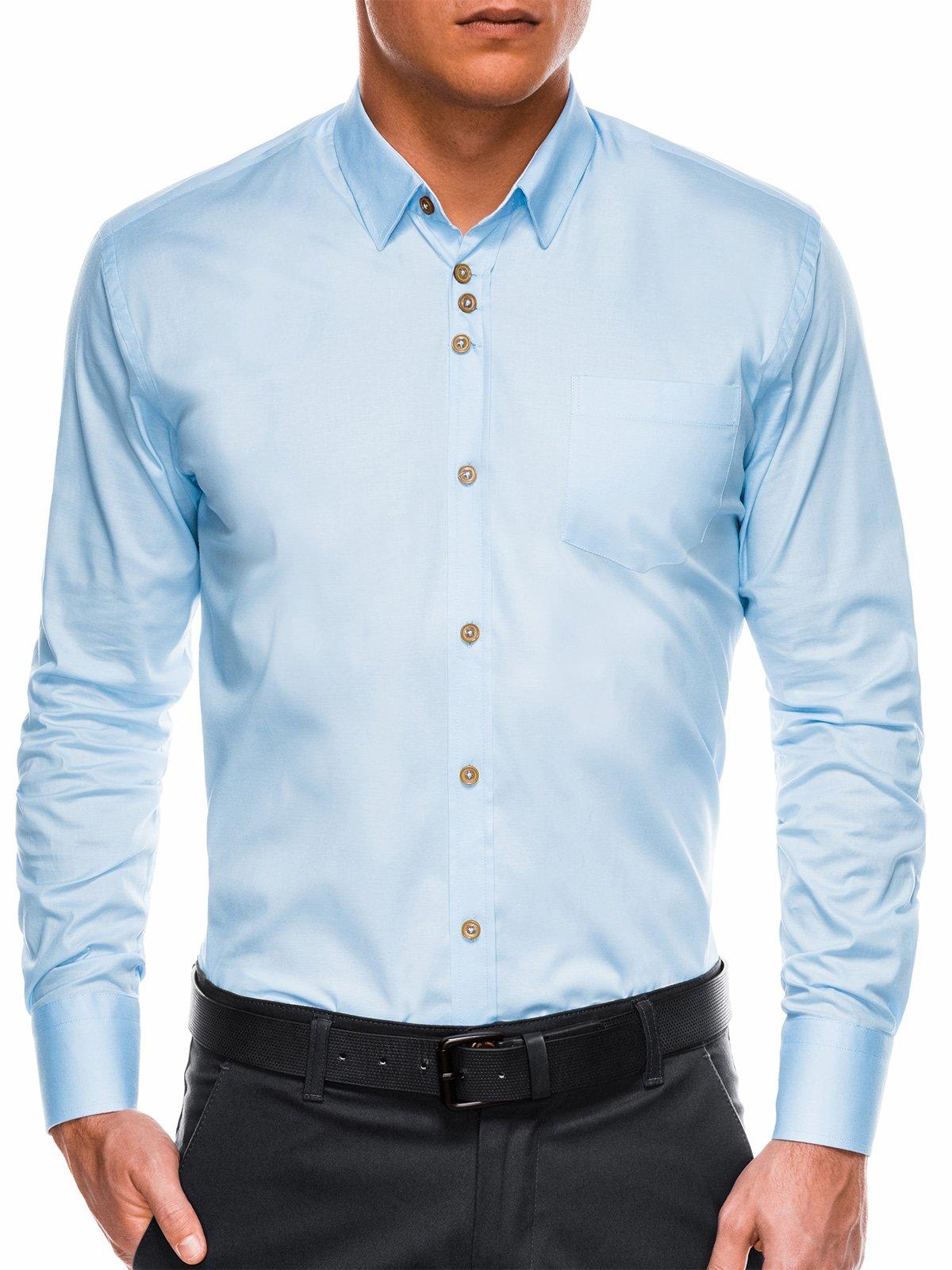 40c54076e5eb Мужская рубашка элегантная с длинным рукавом K302 - голубая голубой ...