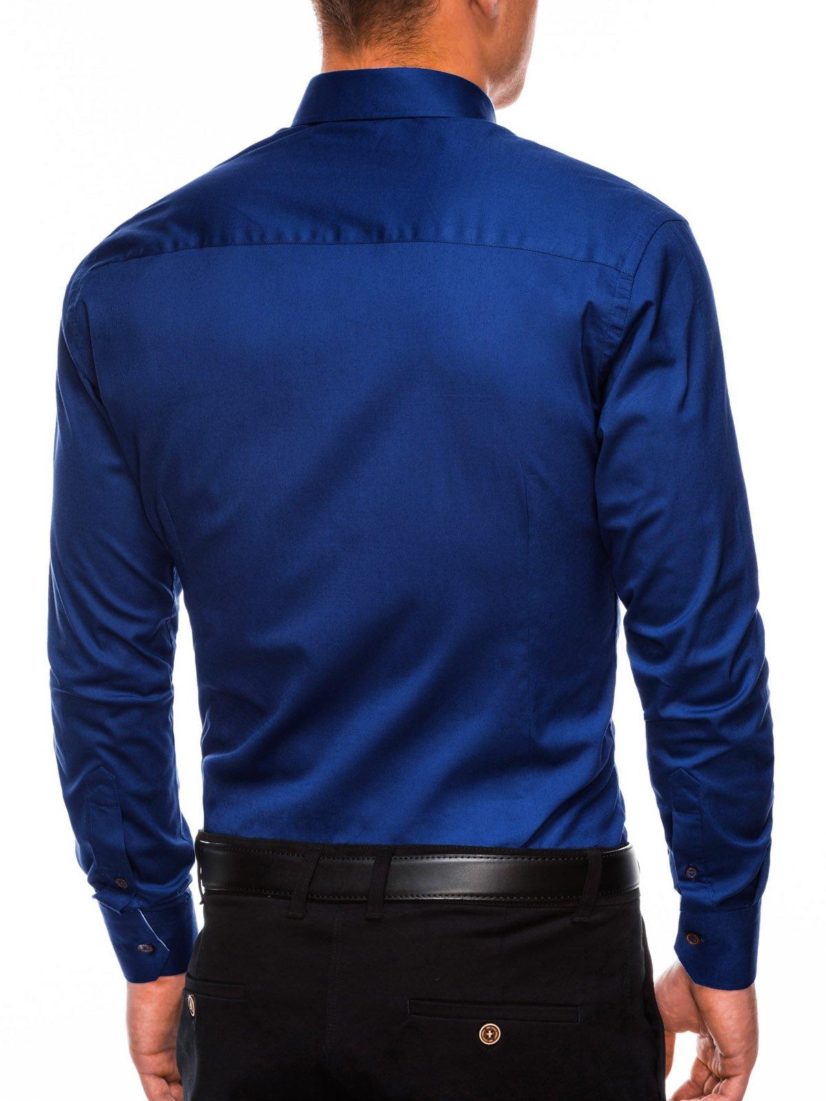 87f658c01ee5346 Мужская рубашка элегантная с длинным рукавом K302 - темно-темно-синяя