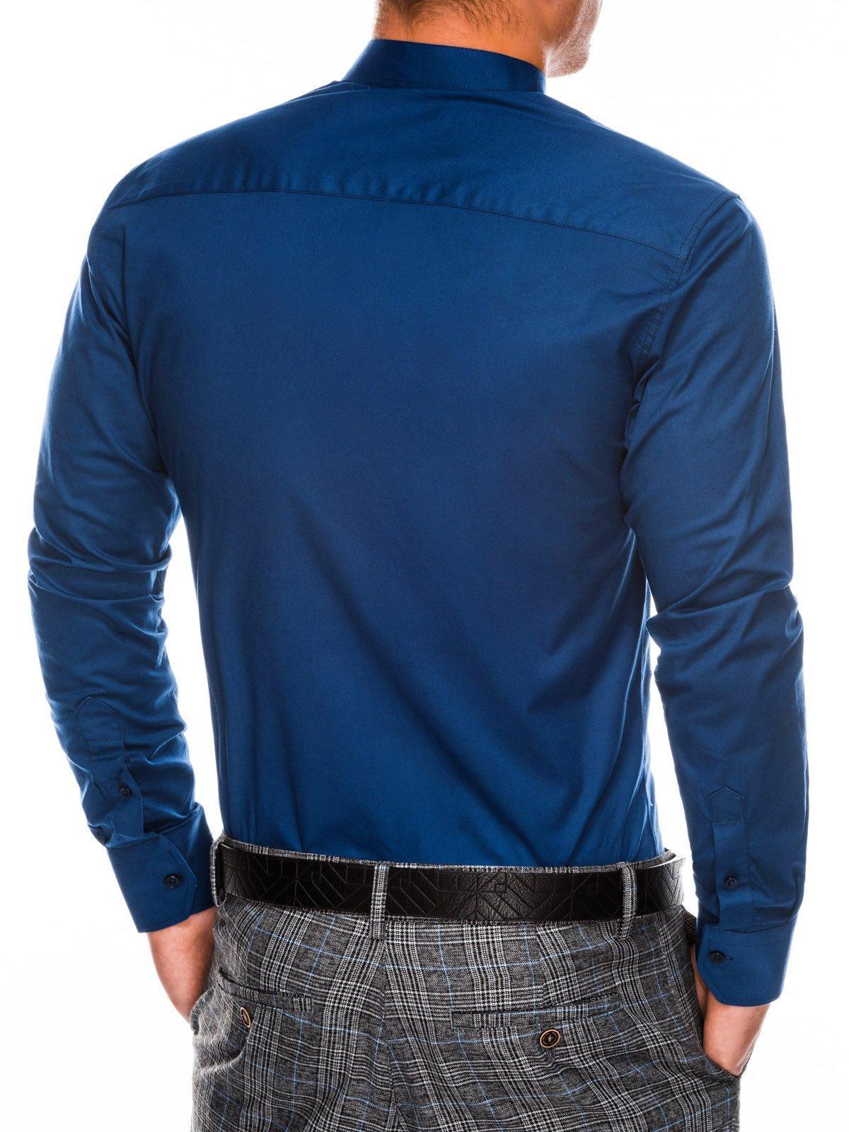 353cfd42c607663 Мужская рубашка элегантная с длинным рукавом K307 - темно-синяя ...