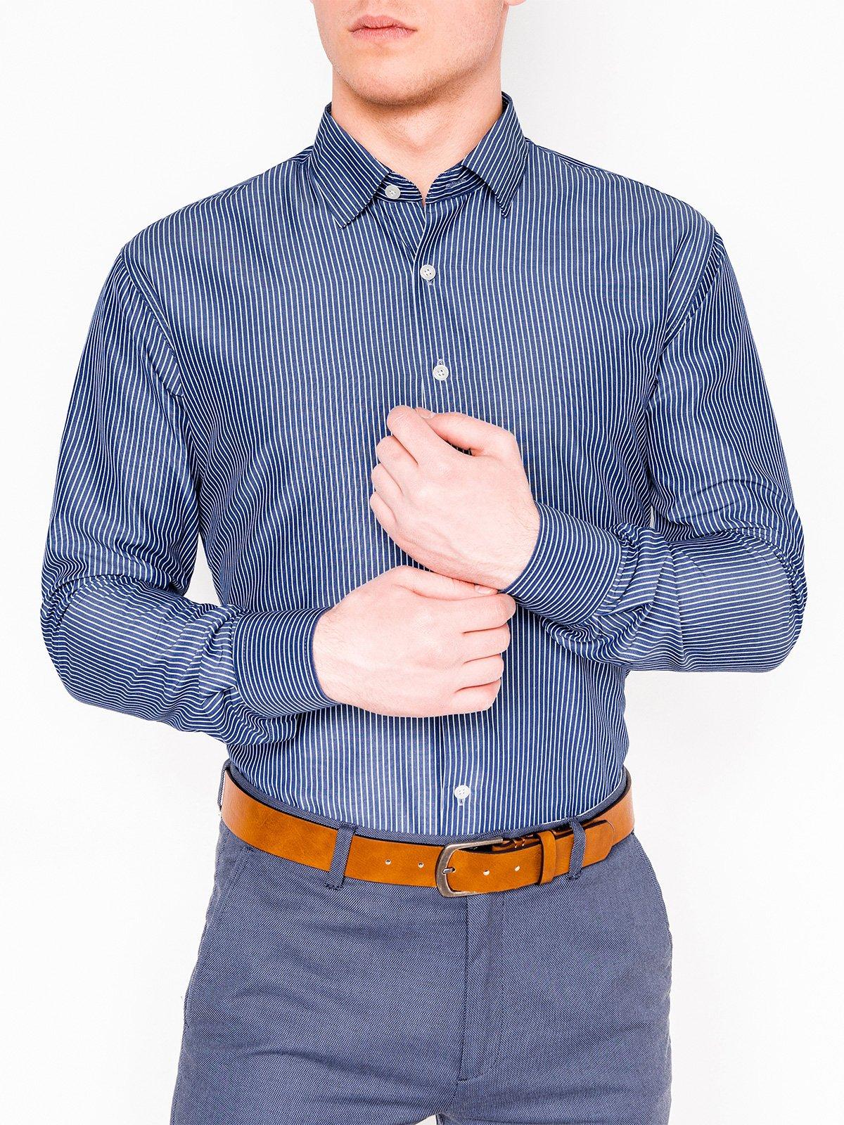 5f59464c48a352e ... Мужская рубашка элегантная с длинным рукавом K428 - тёмно-тёмно-синяя  ...
