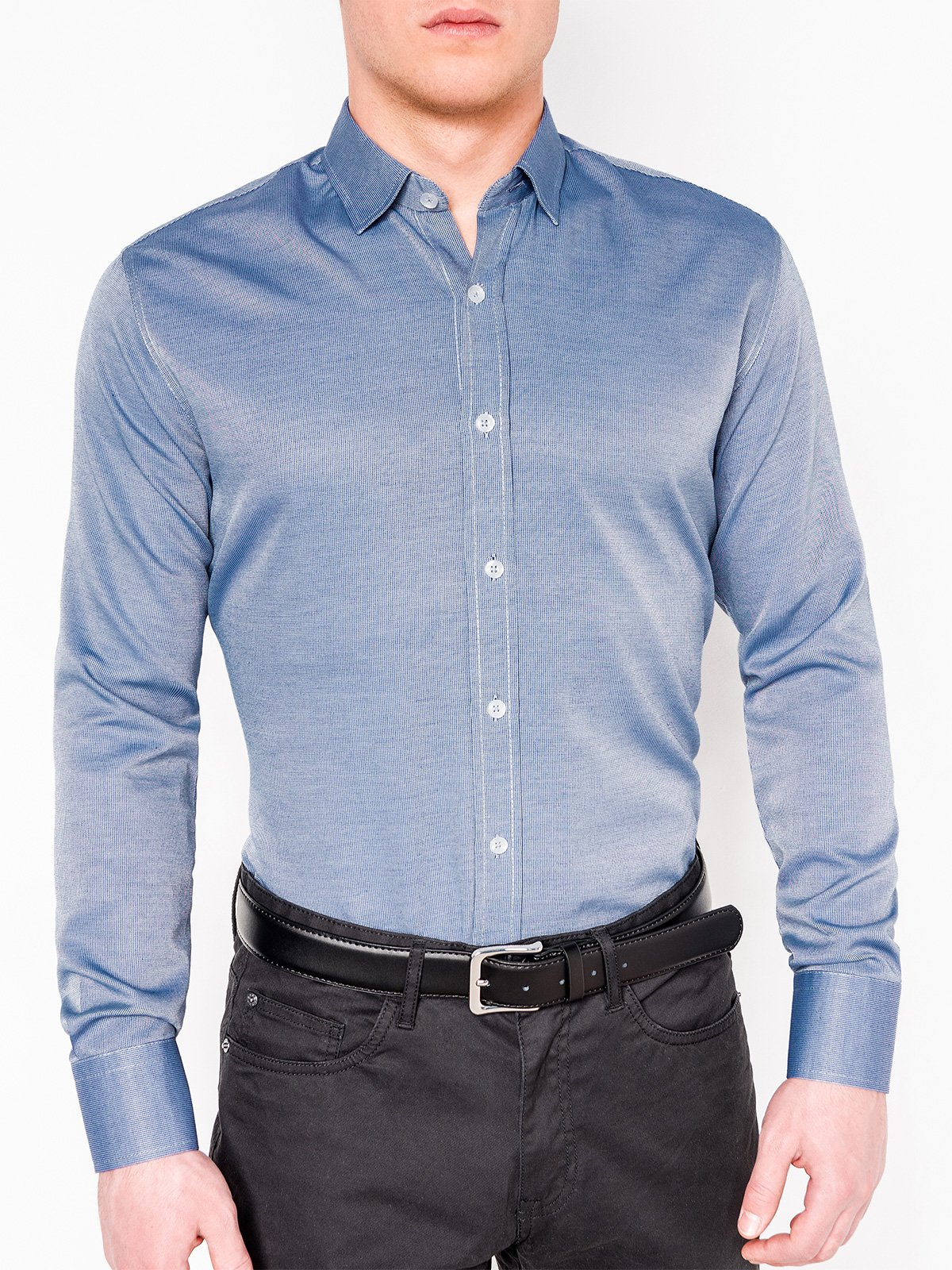 cb49780aca1a12b Мужская рубашка элегантная с длинным рукавом K432 - темно темно-синяя