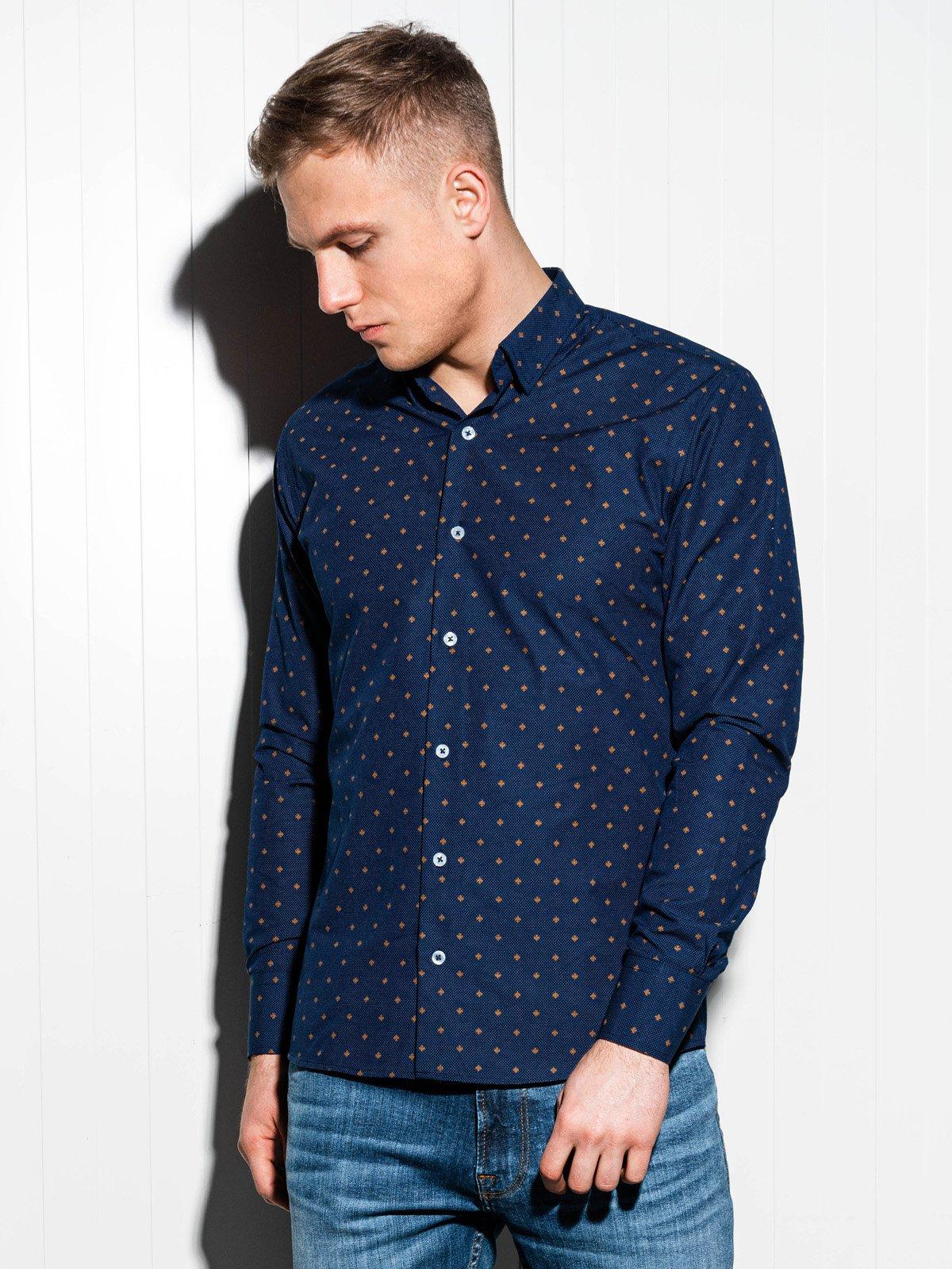 61dfbab19b00229 ... Мужская рубашка элегантная с длинным рукавом K463 - тёмно-тёмно синяя  ...