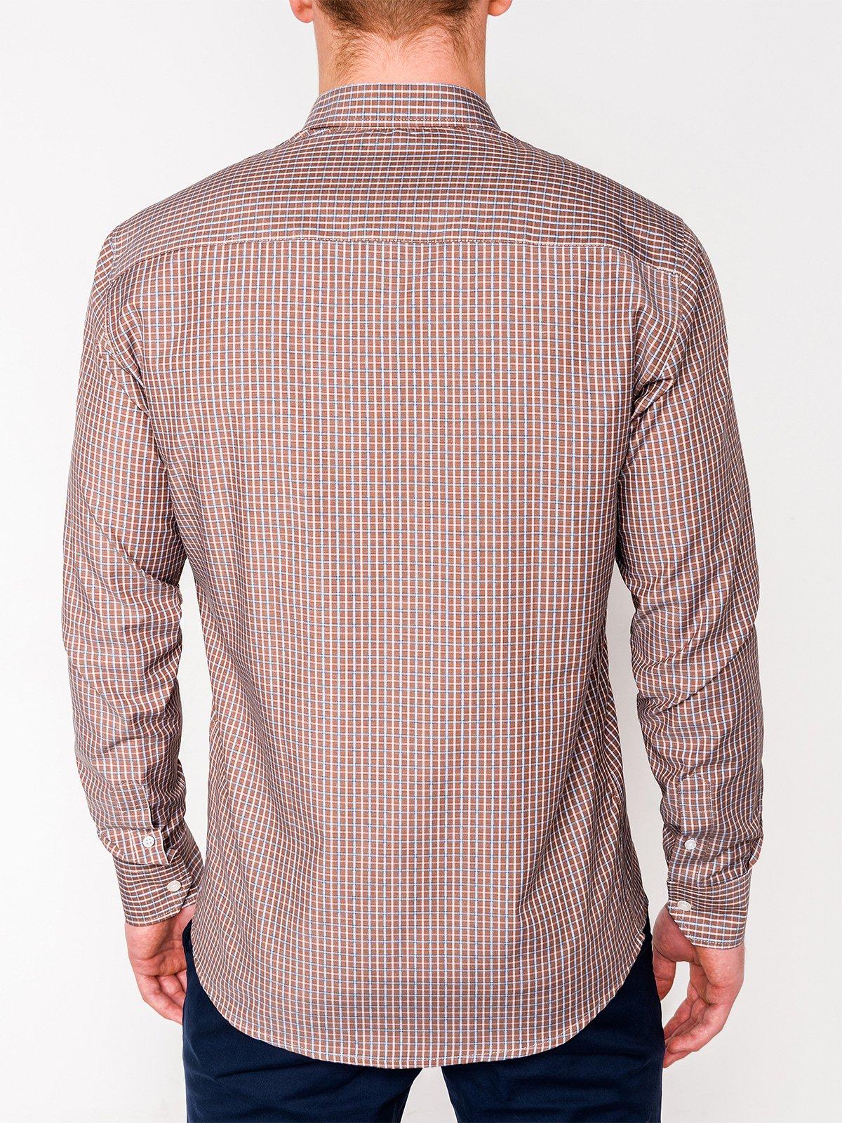 8772fb9f1905e2f Мужская рубашка в клеточку с длинным рукавом K437 - бежевая бежевый ...