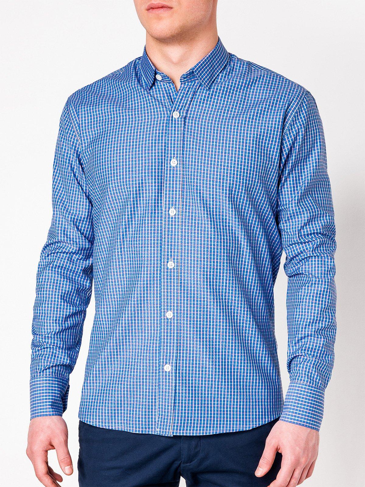 c3163c8b4578 Мужская рубашка в клеточку с длинным рукавом K437 - голубая голубой ...