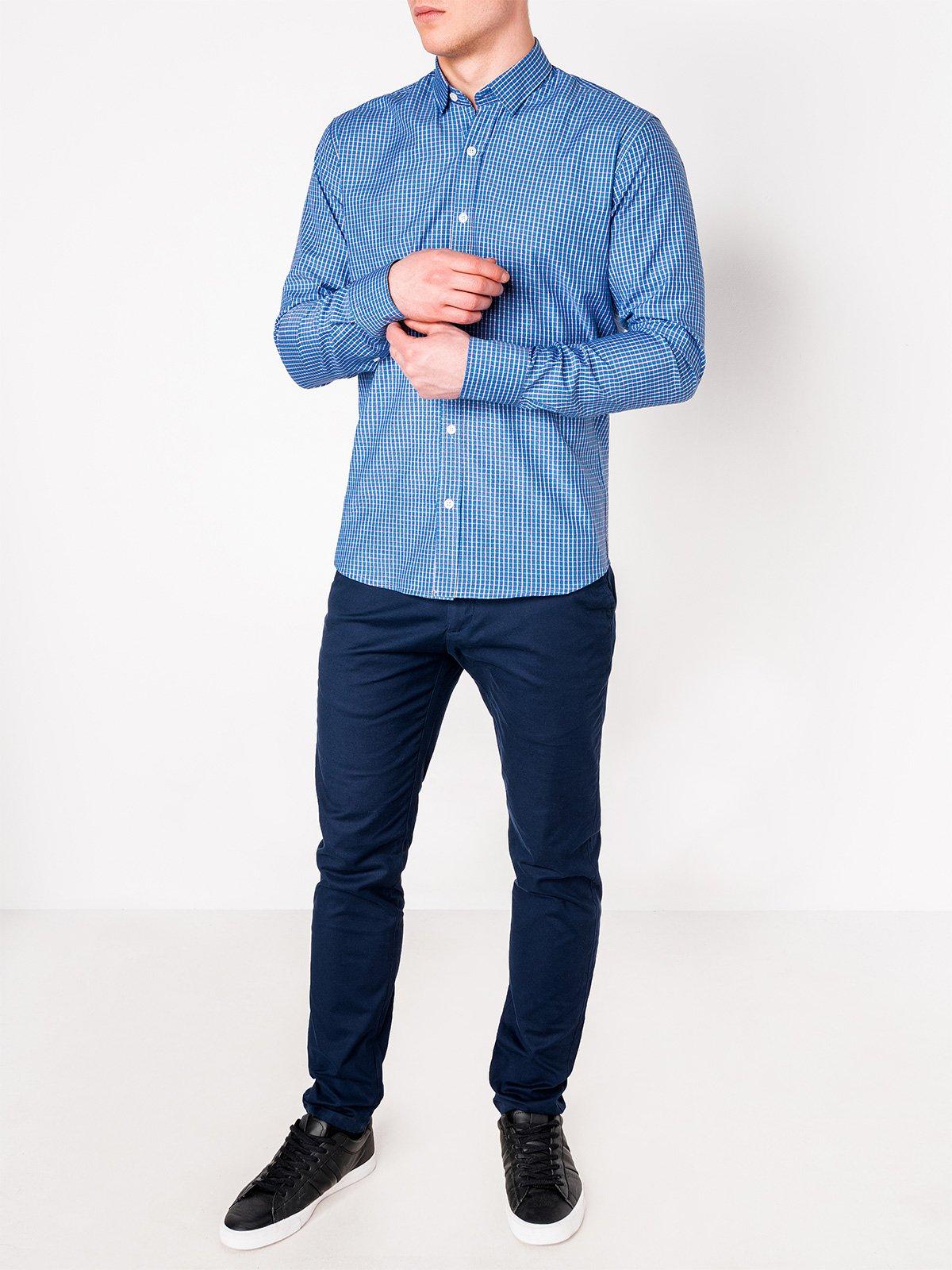 7ef0f7402a31e06 Мужская рубашка в клеточку с длинным рукавом K437 - голубая голубой ...