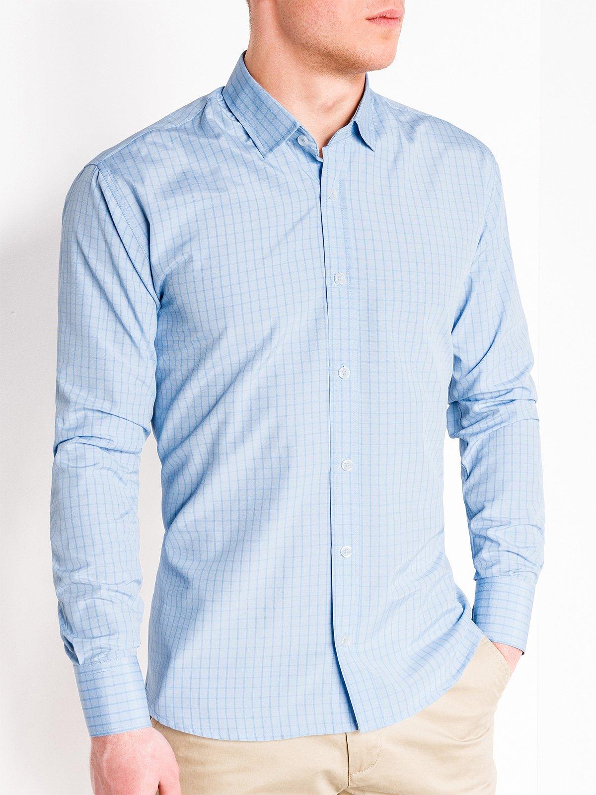 4136d37624ca Мужская рубашка в клеточку с длинным рукавом K446 - голубая голубой ...