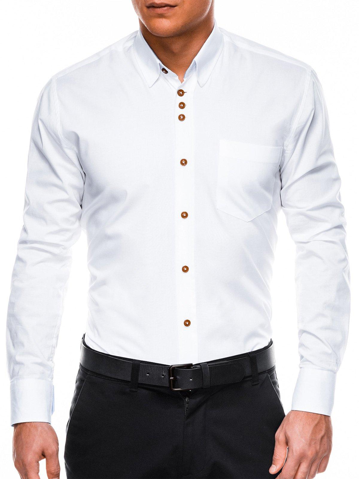 2da1c40e541da93 Мужская рубашка элегантная с длинным рукавом K302 - белая белый ...