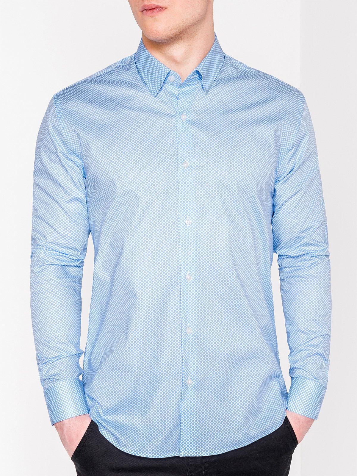 961980099292 Мужская рубашка элегантная с длинным рукавом K457 - голубая голубой ...