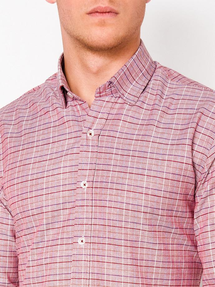bf861d9f455 Мужская рубашка в клеточку с длинным рукавом K433 - красная красный ...
