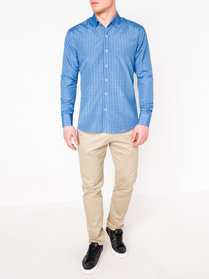 fcf14ddd6b2 Мужская рубашка в клеточку с длинным рукавом K446 - синяя синий ...