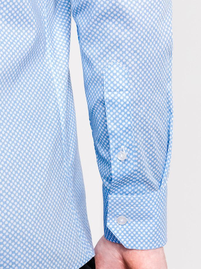 c0a90c4aa1b Мужская рубашка элегантная с длинным рукавом K457 - голубая голубой ...