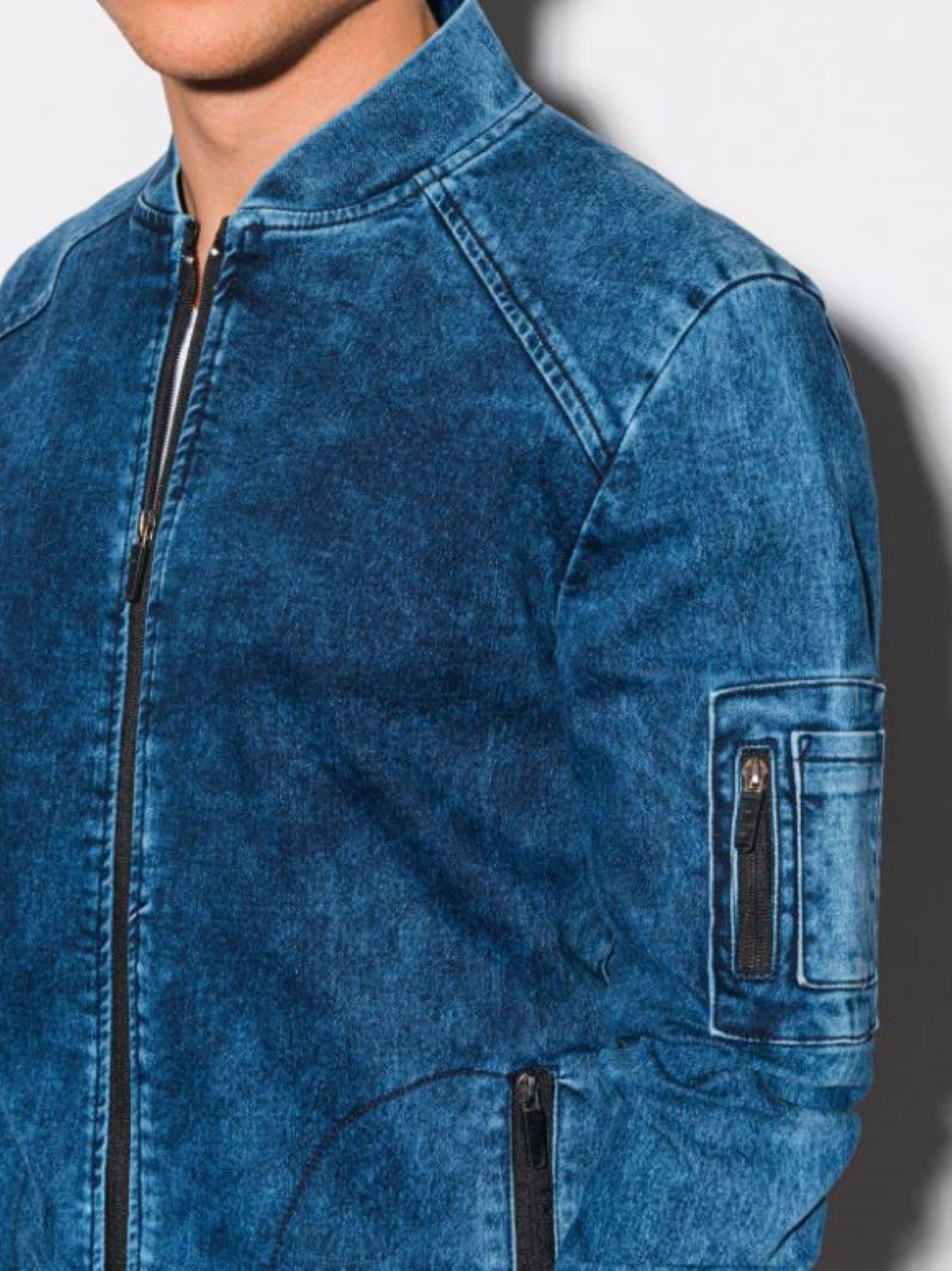 КУРТКА ЧОЛОВІЧА ДЖИНСОВА ДЕМІСЕЗОННА БОМБЕРКА C240 - СИНЯ джинсовий ... e24ab689a087c